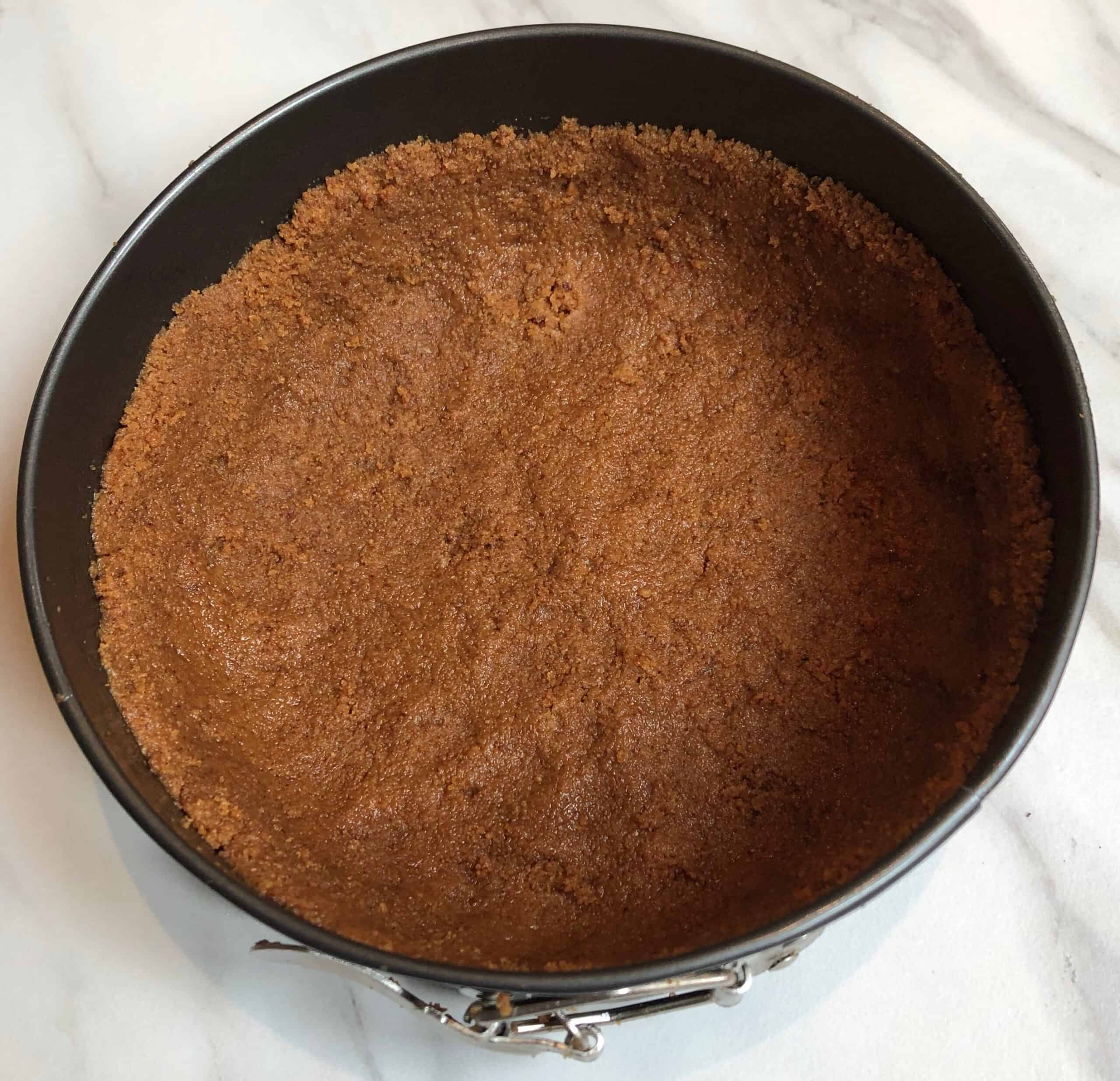 baked honey almond crust for lavender cheesecake