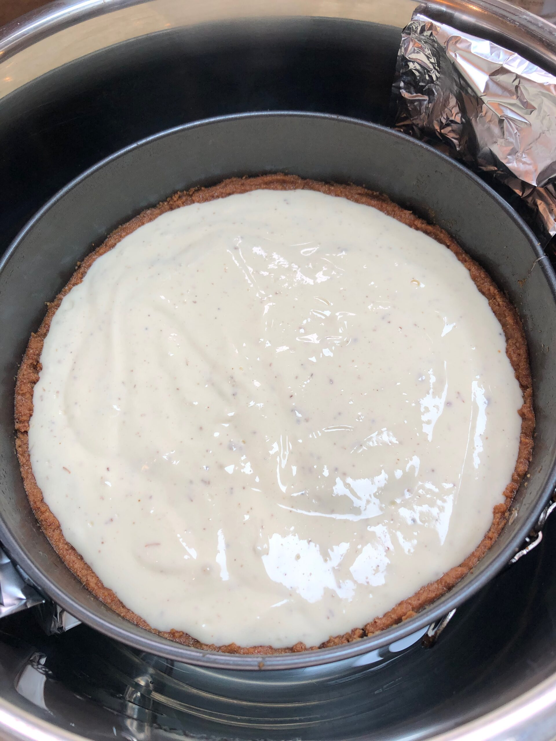 lavender cheesecake before baking in instant pot
