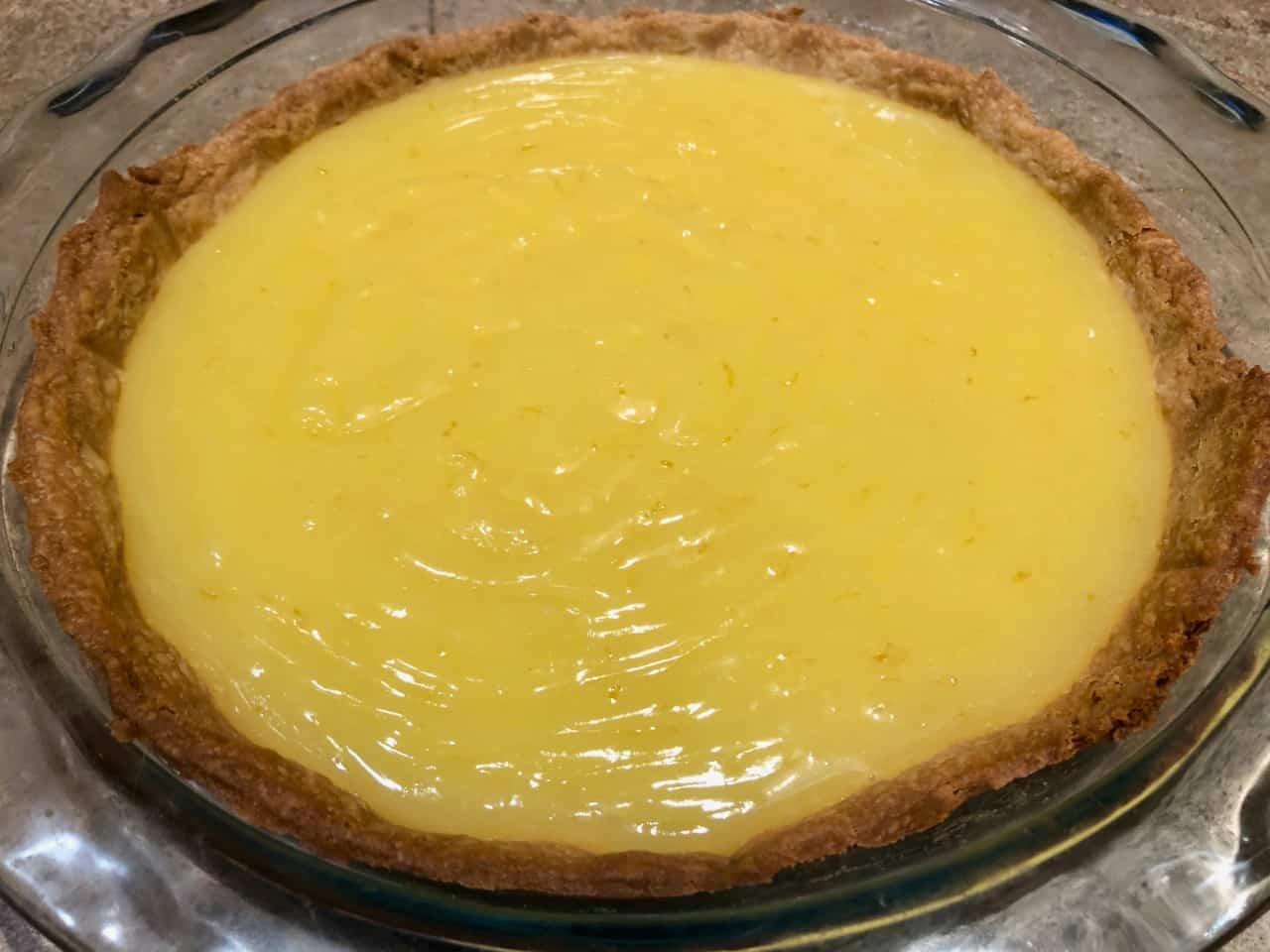 meyer lemon pudding in baked pie crust
