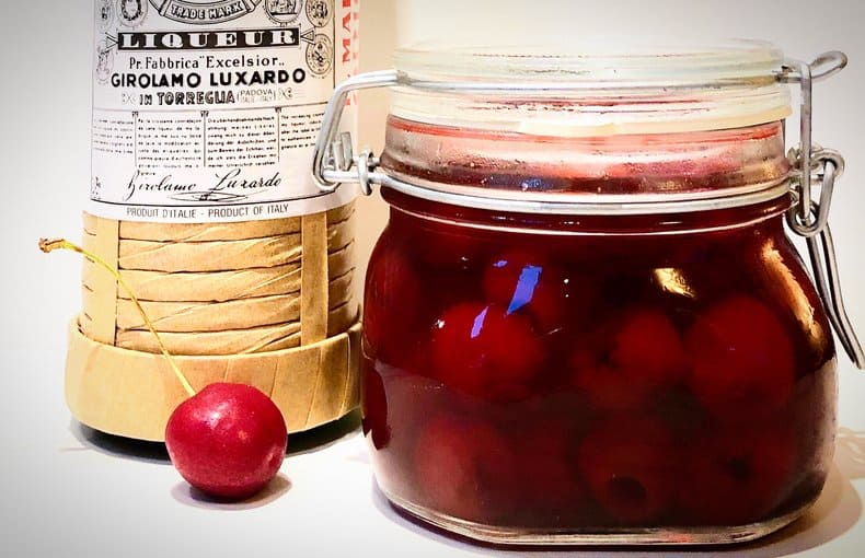 homemade luxardo cherries and luxardo liqueur