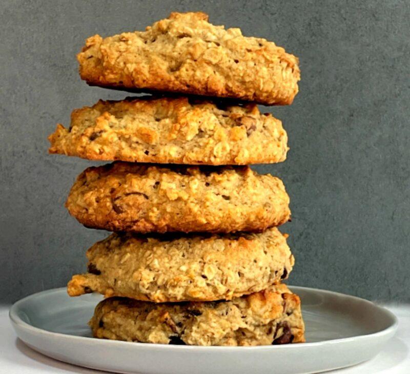 a stack of banana oatmeal cookies