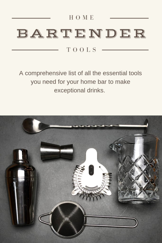 bar tools including a mixing glass, a bar spoon, jigger, strainers and a cocktail shaker