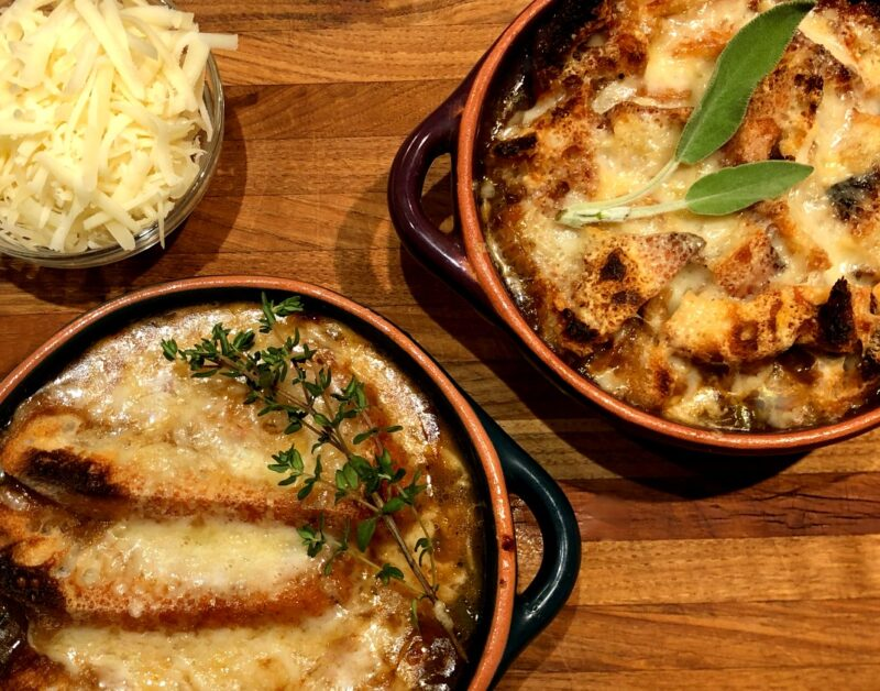 bowls of french onion soup