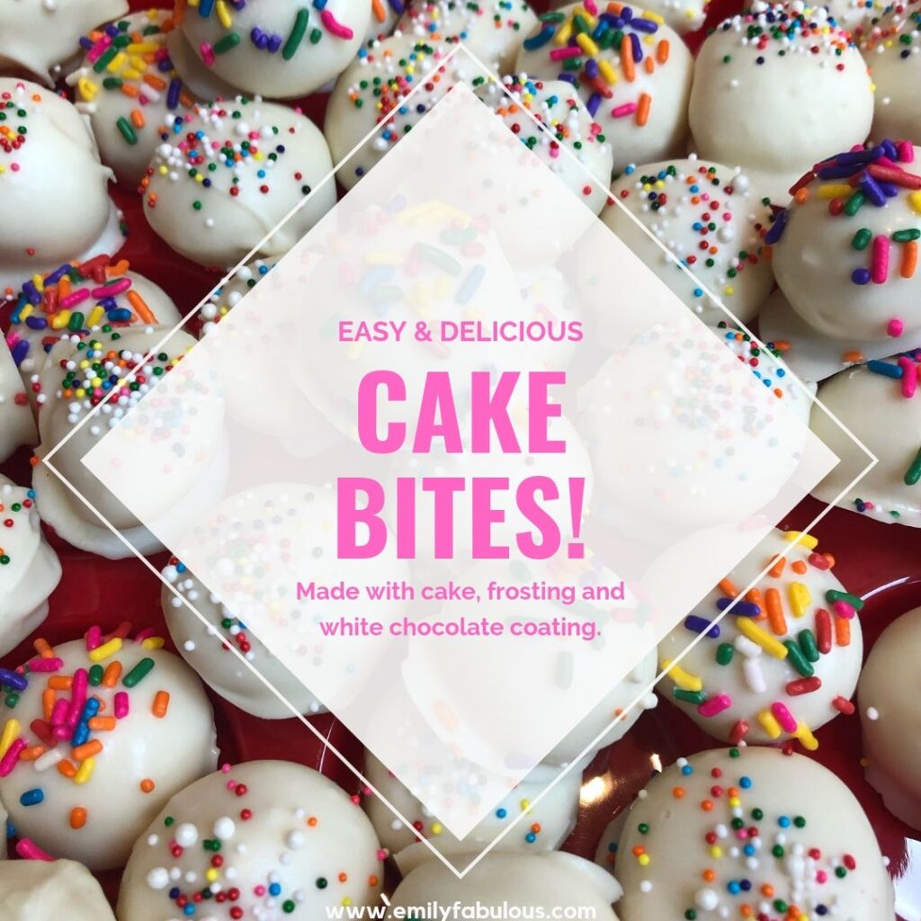 cake bites with multi-colored sprinkles