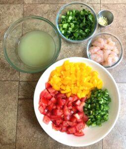 fresh shrimp ceviche ingredients