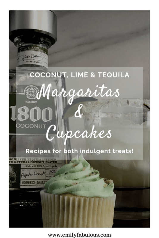 Coconut Margarita Cocktail and Coconut Margarita Cupcake with Coconut Tequila Frosting