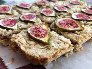 coconut fig bars sliced into squares