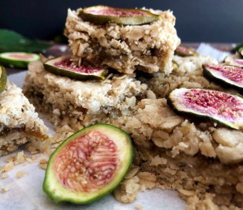 coconut fig bars stacked with figs