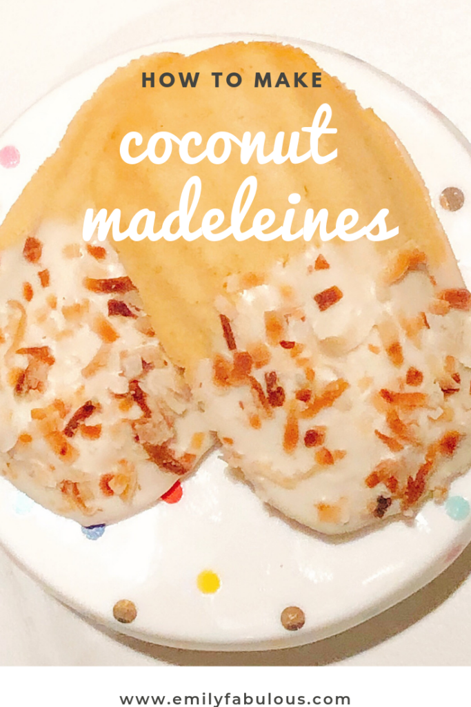 gluten free coconut madeleines with toasted coconut and white chocolate