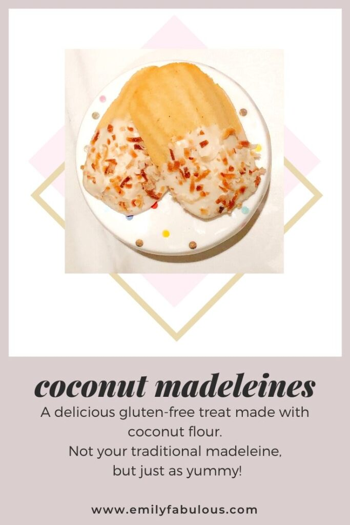 coconut madeleines with toasted coconut on a cake stand
