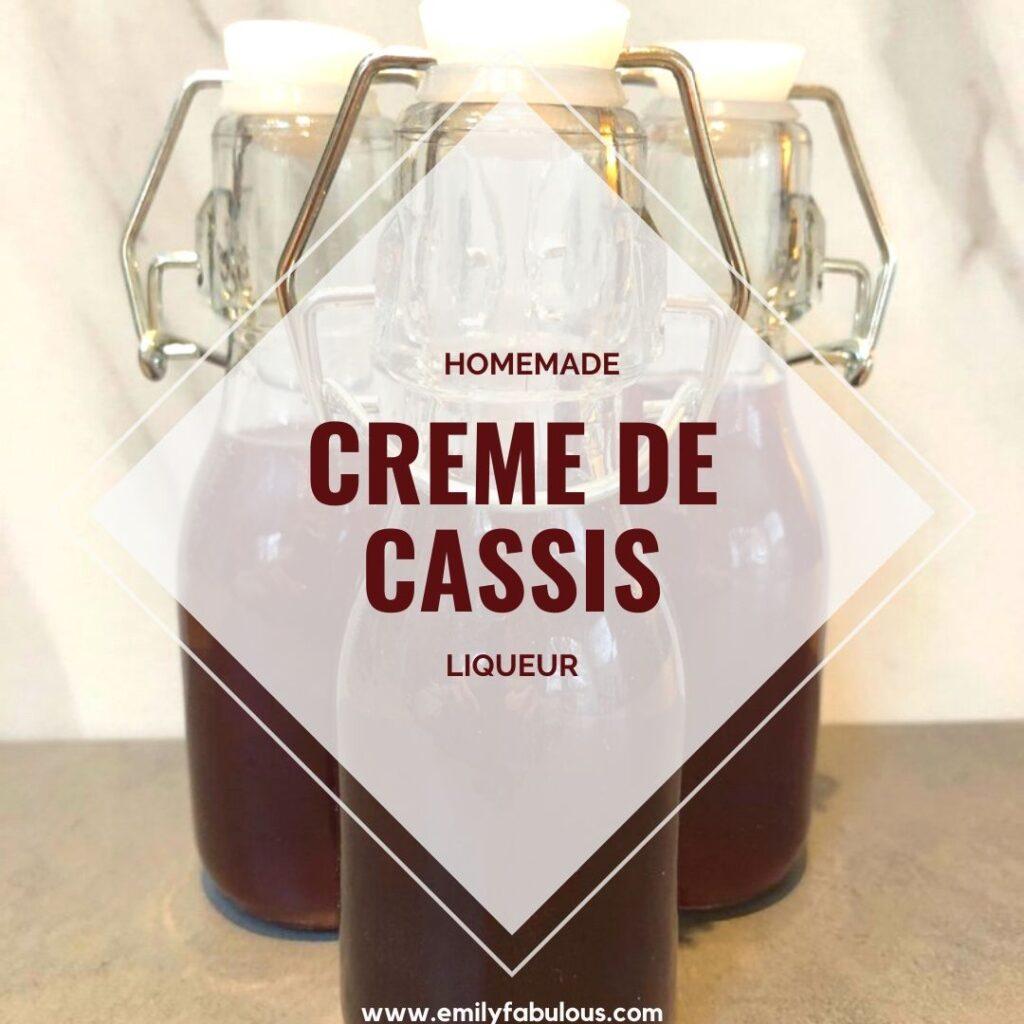 homemade creme de cassis in flip top bottles