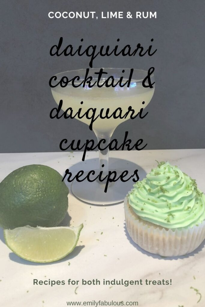 classic daiquiri cocktail, daiquiri cupcake with lime zest and a lime wedge
