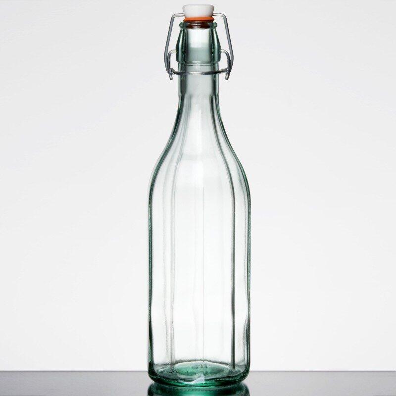 flip-top glass bottle