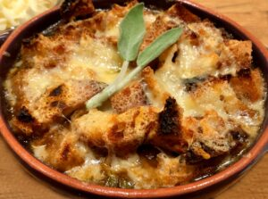 french onion soup with cheese and sage