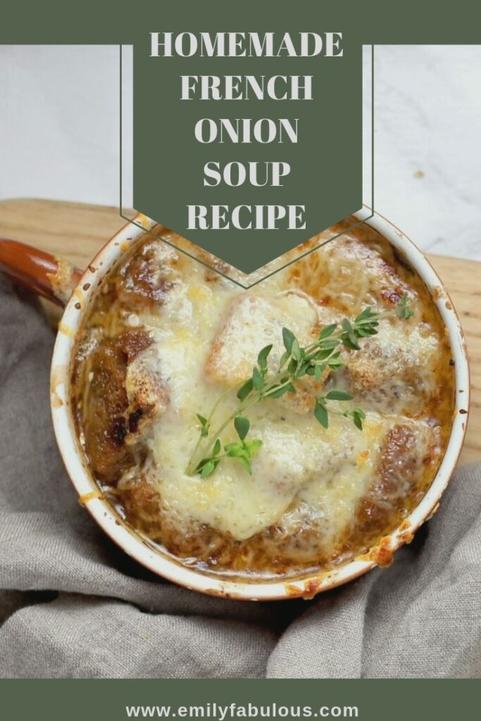 french onion soup with melted cheese and fresh herbs