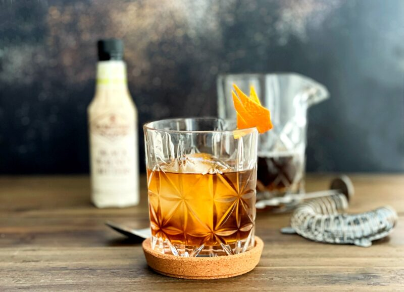 gin cocktail with black walnut bitters