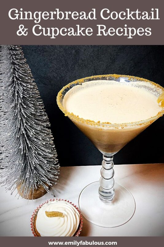 gingerbread martini and gingerbread cupcake with candied ginger garnish