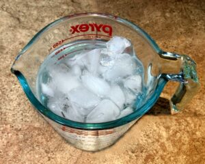 ice water in a cup