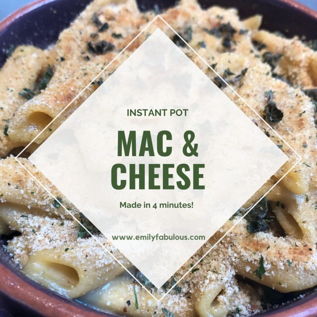 mac and cheese made in the instant pot with breadcrumbs and fresh herbs baked on top