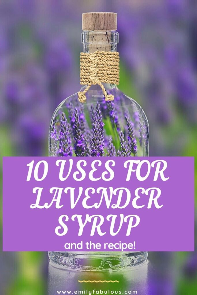 fresh lavender sprigs in a bottle to showcase a homemade lavender syrup recipe and 10 uses for lavender syrup