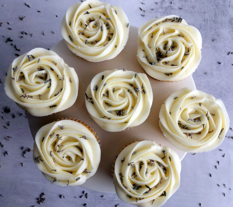 lavender lemon cupcakes on a cake stand