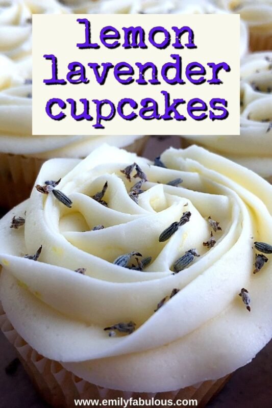 lemon lavender cupcake with dried lavender buds on top