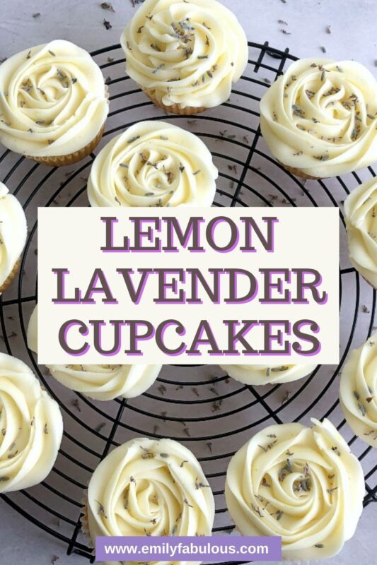 lemon lavender cupcakes on a round cooling rack