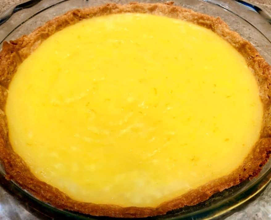 lemon pudding in pie crust
