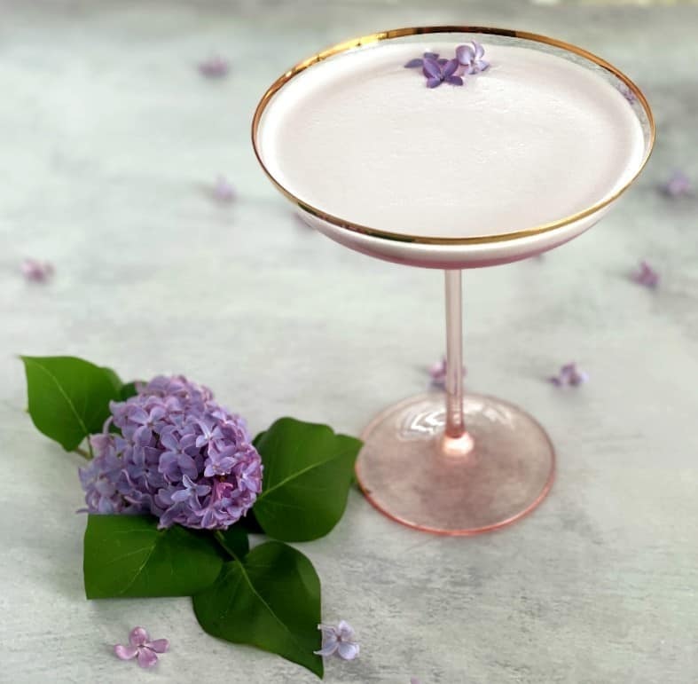 lilac cocktail with fresh lilac flowers as garnish