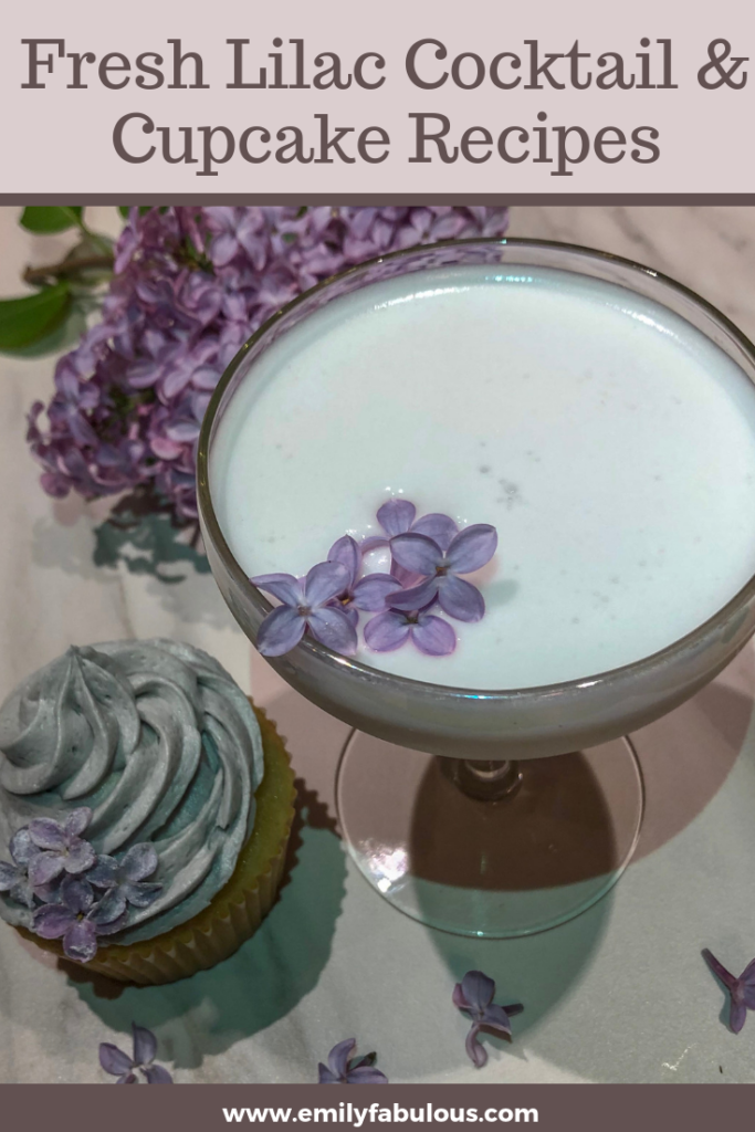 Lilac cocktail with fresh lilac buds and a lilac cupcake with lilac buttercream frosting and candied lilac flowers and fresh lilac flowers in the background
