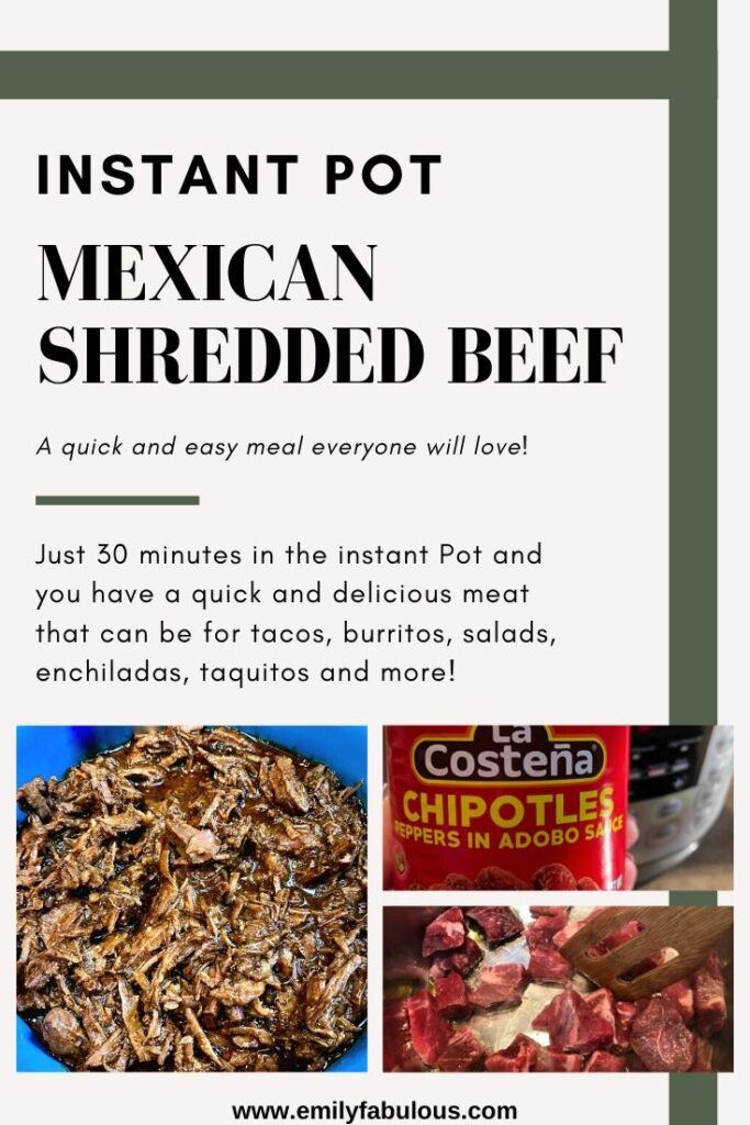shredded mexican beef, a can of chipotle peppers and raw beef sauteing in the instant pot