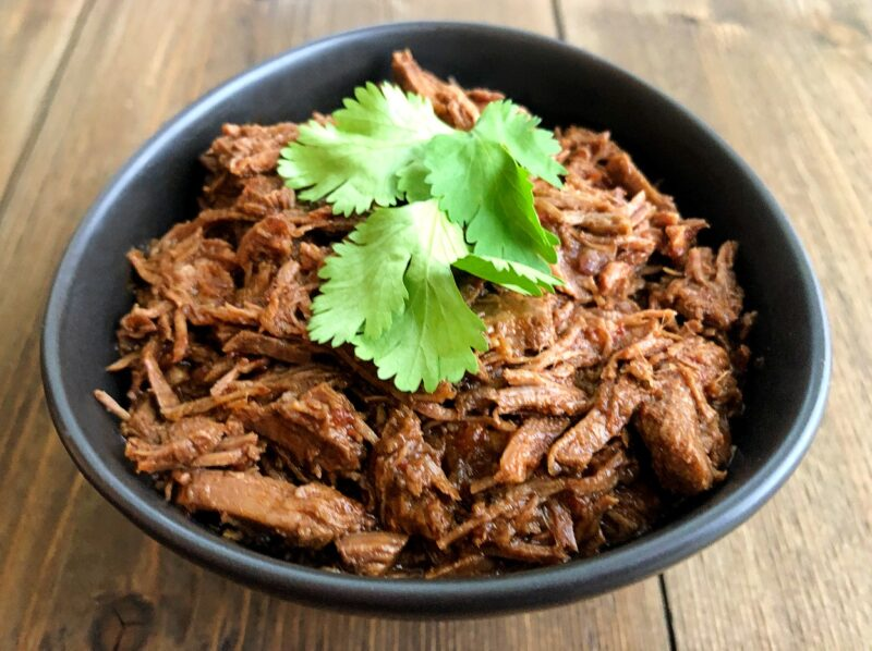 mexican shredded beef made in the instant pot in a bowl