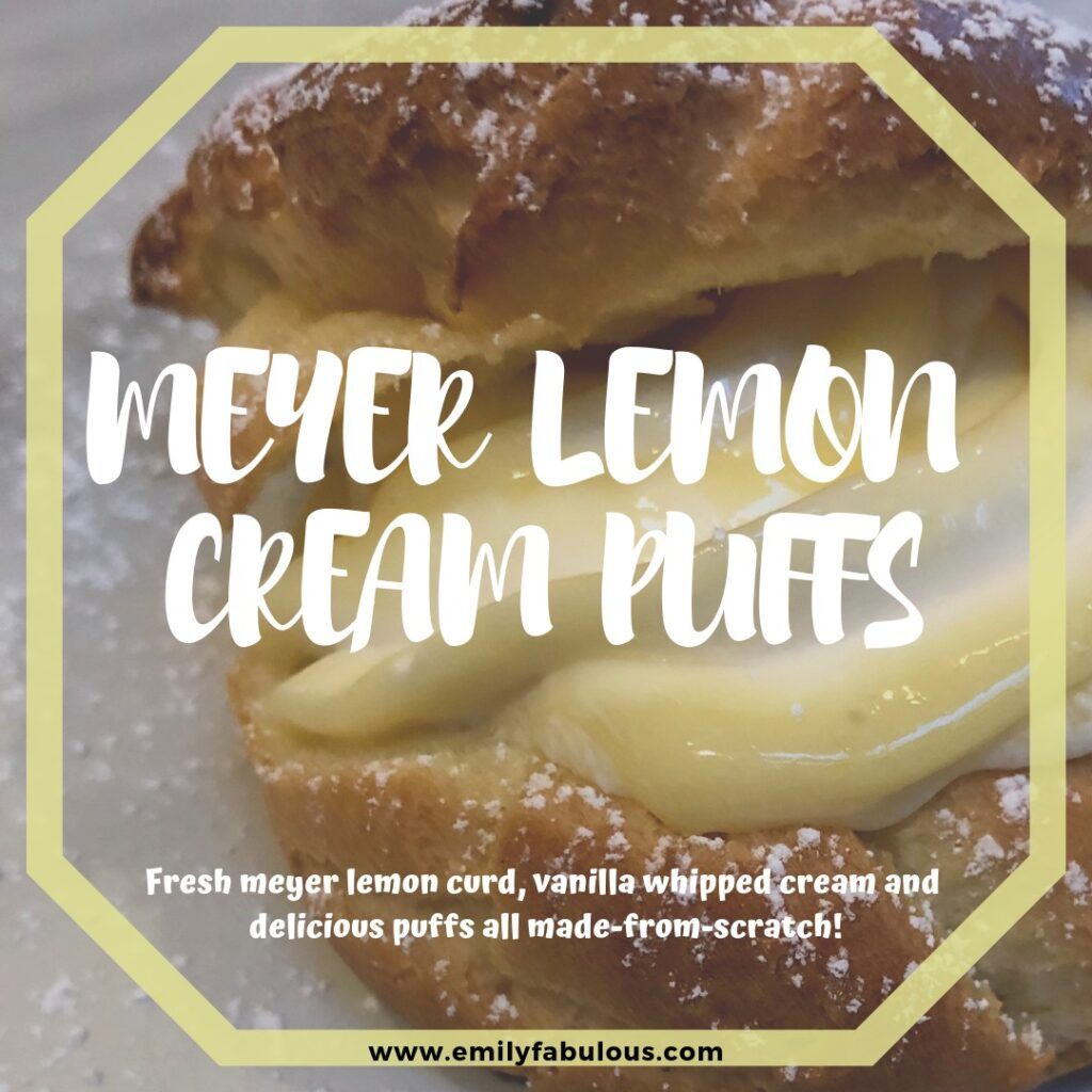 meyer lemon cream puff filled with a swirl of lemon curd and fresh whipped cream topped with powdered sugar