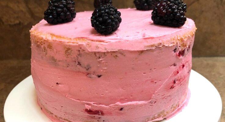 Naked Marionberry Cake