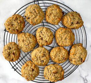 oatmeal banana cookies on a cooling rack