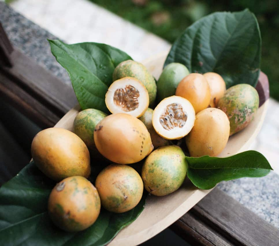 passion fruits and the inside og one passion fruit