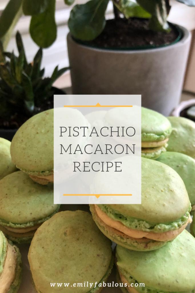 pistachio macarons with pistachio buttercream filling made from the recipe on emilyfabulous.com