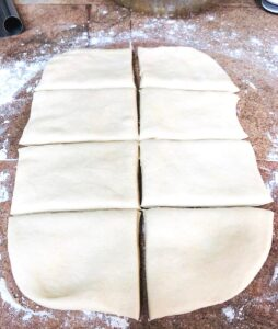 rolled out pita dough cut in 8 pieces