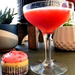 strawberry gin cocktail and strawberry cheesecake cupcake