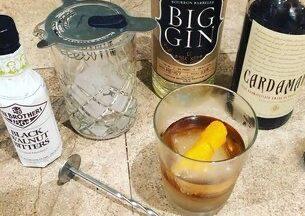 Black walnut cocktail ingredients with gin