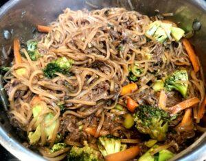 drunken noodles after cooking under lid for 5 minutes