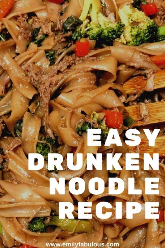 close up of drunken noodles with fresh vegetables