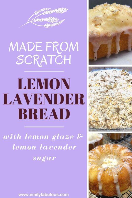 lemon lavender bread photos including lemon lavender sugar, a loaf and bundt with lemon icing and lemon lavender sugar sprinkled on top