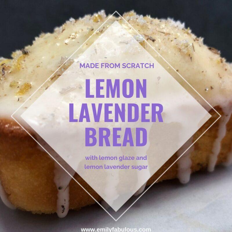 lemon lavender bread loaf with lemon glaze topped with lemon lavender sugar
