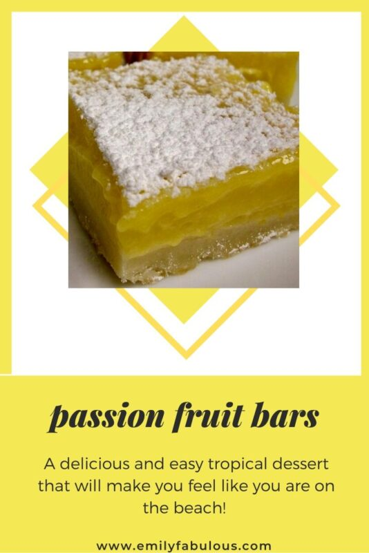 passion fruit bar with powdered sugar topping