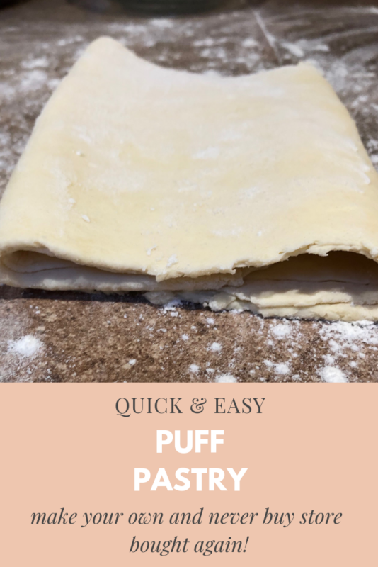 homemade puff pastry dough folded in thirds