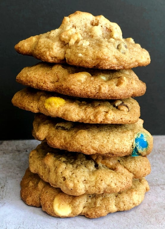 kitchen sink cookies with chocolate chips, pretzels, and trail mix