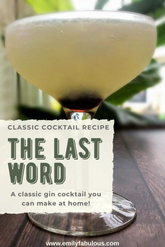 classic last word cocktail in a coupe glass with a cherry at the bottom
