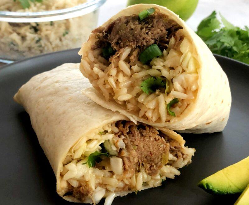 korean burrito with shredded pork