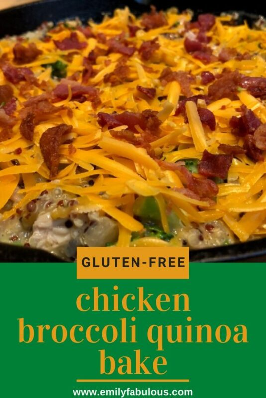 gluten-free chicken broccoli quinoa skillet bake with bacon on top before baking